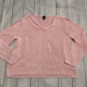 Eileen Fisher Pink Vneck Knit Cotton Sweater XL
